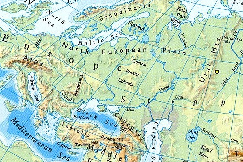 The Urals on the map of Europe