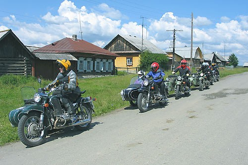 The riders in the village